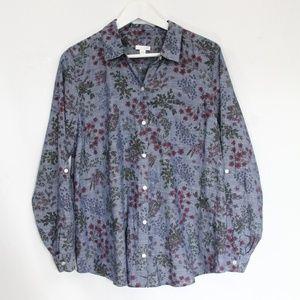 J Jill Chambray Shirt sz Medium Floral Top